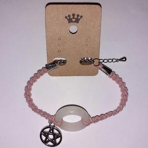 Snow Quartz + Pentacle Macrame Bracelet